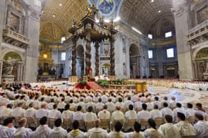 Pope Francis leads the Chrism Mass in St Peter's Basilica, Vatican City