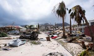 Storm damaged Caribbean island
