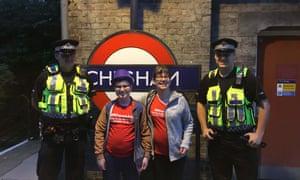 Alasdair Clift with his mother, Caroline, at Chesham London Underground station