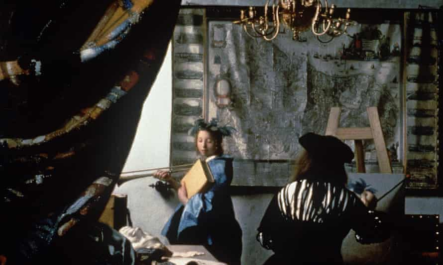 Drawing back the curtain on unfamiliar literature … detail from Johannes Vermeer's The Allegory of Painting.