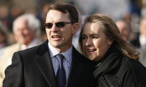 Aidan O'Brien with his wife Ann-Marie watching the St Leger at Doncaster.