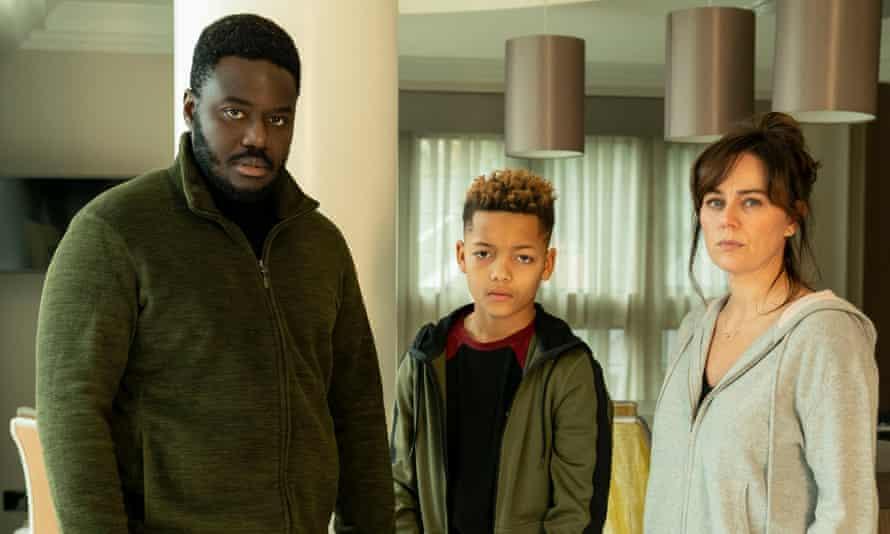 Manny (Babou Ceesay), Isaac (Max Fincham) and Sam Mensah (Jill Halfpenny) in Dark Money