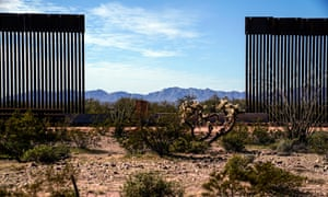 A view through the recently constructed border wall into Mexico at Organ Pipe National Monument.