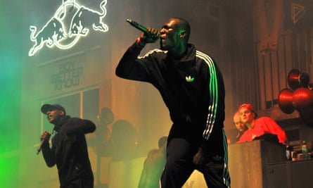 Grime artists Stormzy and Boy Better Know perform at Earls Court, London, in 2014.