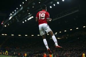 Rashford celebrates after putting United ahead.
