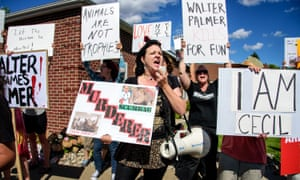 A protest outside the practice of lion-hunting US dentist Walter Palmer