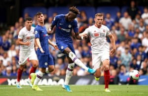 Tammy Abraham (centre) scores his, and Chelsea's, second goal of the game.