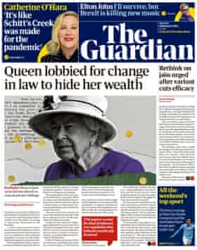 Guardian front page, Monday 8 February 2021