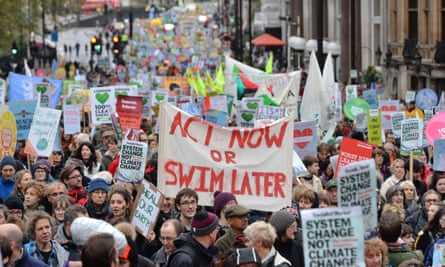Climate change campaigners marching in London