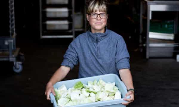 Marie Eisendick volunteers in the Refugee Community Kitchen.