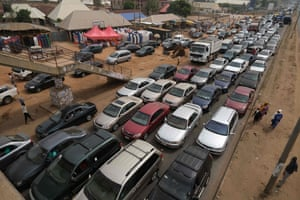 An aerial view of cars and people leaving Abuja on Monday to try to escape the lockdown, which went into force on Monday night