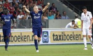 Donny van de Beek celebrates after scoring for Ajax against Nice in July 2017.