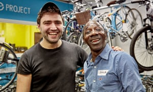 Rolling onwards: the Bike Project's founder Jem  Stein with Ussamane Silla from Guinea-Bissau
