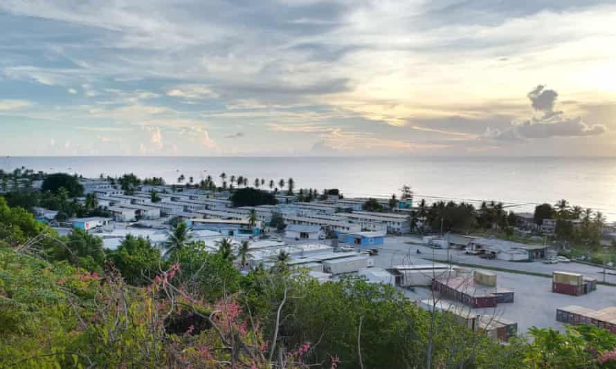 View of the settlements and hospital on the island of Nauru.