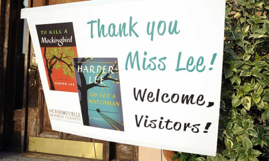 a sign welcoming fans to Lee's home town of Monroeville, Alabama.