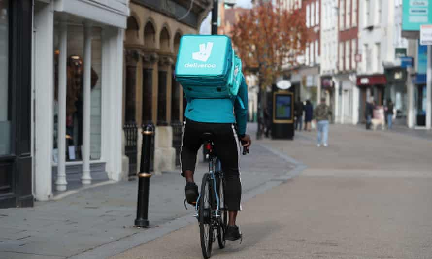 A deliveroo cycle courier
