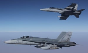 Two F/A-18A Hornets over Syria on Friday.