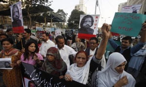 Activists in Karachi hold a rally calling for the release of Salman Haider, editor of the online magazine Tanqeed.
