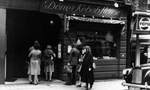 Turkish delight: fans line up outside the Doner Kebab House in Wardour Street, Soho, London in 1977.