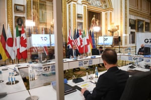 Dominic Raab, the foreign secretary, sitting between Marc Garneau, the Canadian foreign minister, and Motegi Toshimitsu, the Japanese foreign minister, at the meeting of G7 foreign ministers at Lancaster House in London this morning.