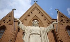 Donetsk, Ukraine, 10 June 2017: the Roman Catholic Church of St Joseph