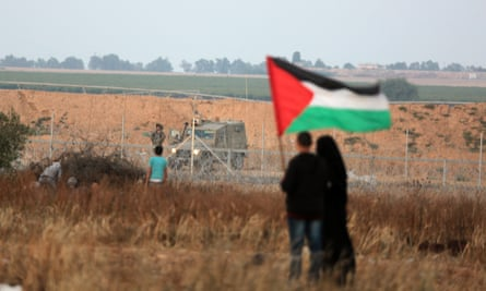 Protesters at the Gaza border on Wednesday