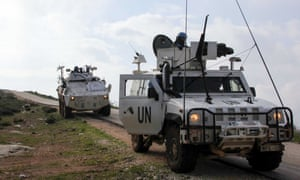 United Nations Interim Forces in Lebanon (UNIFIL) armoured vehicles patrol the area around the southern Lebanese town of Kfar Kila on the border with Israel on January 3.