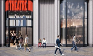 CGI of the new theatre's entrance at King's Cross.
