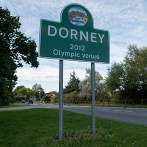 A sign post for Dorney, the 2012 Olympic venue for rowing and canoeing.