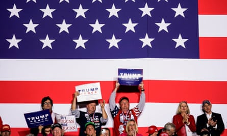 Supporters cheer as Trump speaks in Richmond, Kentucky on Saturday.