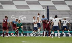 West Ham United's Tomas Soucek scores an own goal.