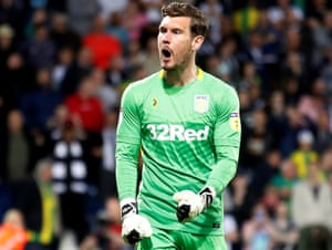 Aston Villa's Jed Steer celebrates after saving from West Bromwich Albion's Mason Holgate.