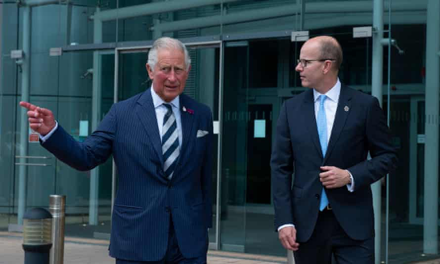 Jeremy Fleming with Prince Charles at GCHQ