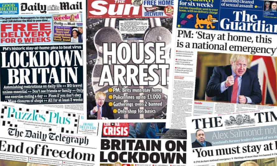 Front pages of the UK Papers on Tuesday 24 March 2020 after Boris Johnson orders the nation into lockdown to tackle the coronavirus pandemic