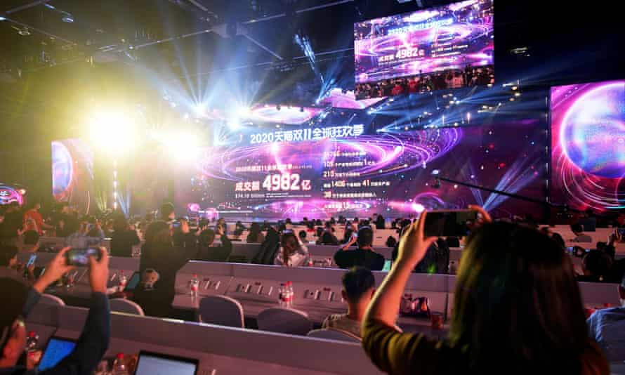 On China's Singles' Day, 11 November 2020, a screen in Zhejiang province shows the value of goods transacted for the shopping site Alibaba.