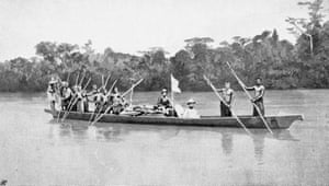 Mary Kingsley, photographed in her expedition canoe on the Ogowe river