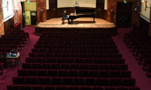 Going solo … Pianist Stephen Hough rehearses ahead of a lockdown concert at Wigmore Hall.