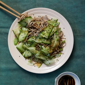 Signe Johansen's Japanese soba noodles with cucumber and a miso dressing.