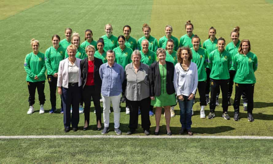 Players from the current and 1979 Matildas team