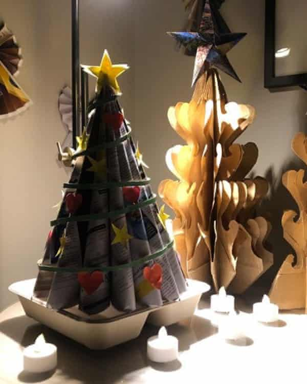 Cardboard Christmas trees made by Emytha Taihutu.