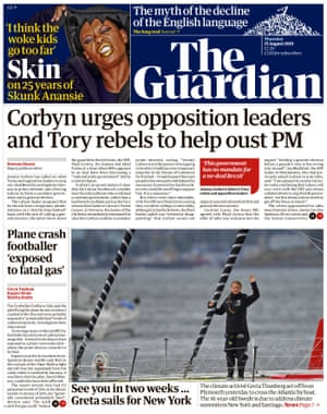 Guardian front page, Thursday 15 August 2019