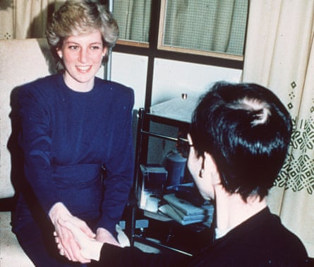 Diana, Princess of Wales shakes hands with an Aids patient at the opening of a ward at Middlesex hospital in 1987