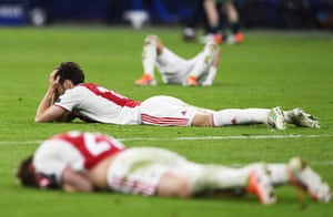 Ajax players after losing their Champions League semi-final in Amsterdam against Tottenham Hotspur.