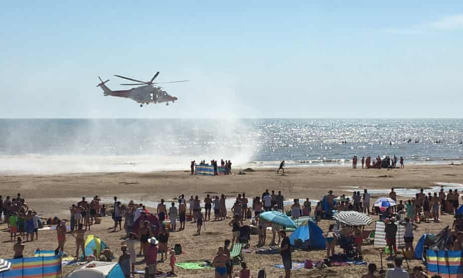Emergency services at Camber Sands on 24 August, the day five men drowned at the beach.