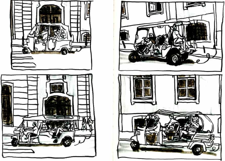 Four tuktuks in less than 2 minutes (yes, sketches made from my cellphone snapshots), Rua do Alecrim, Chiado