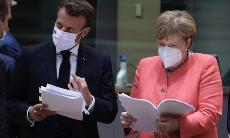 French and German leaders, Emmanuel Macron and Angela Merkel, in Brussels for the negotiations.