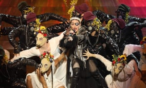 Madonna performing during the Eurovision song contest.