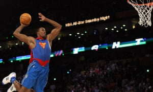 Dwight Howard of the Orlando Magic jumps wearing a Superman Cape in the Sprite Slam-Dunk Contest at the New Orleans Arena during the 2008 NBA All-Star Weekend February 16, 2008 in New Orleans, Louisiana.