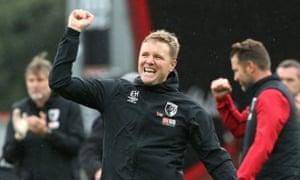 Eddie Howe celebra la victoria de este mes en casa ante el Manchester United.