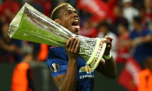Paul Pogba celebrates with the Uefa Cup